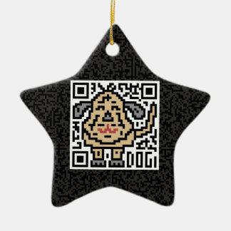 QR Code the Dog Ceramic Star Decoration