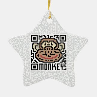 QR Code the Monkey Ceramic Star Decoration