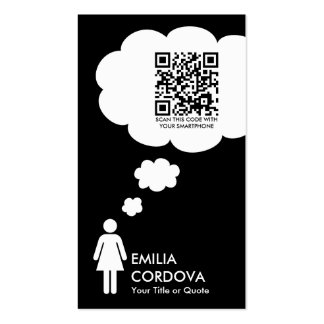 qr code thought bubble (female stick figure) pack of standard business cards