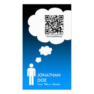 qr code thought bubble (male stick figure) business card