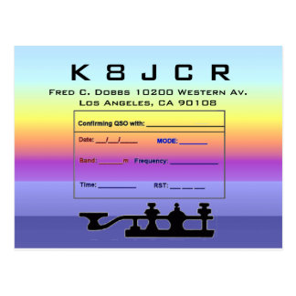 QSL Card twilight background & code key Postcard