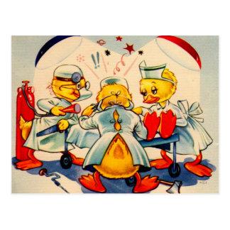 quack doctors and quack nurse medical ducks postcard