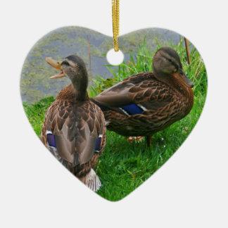 Quacking Duck Ceramic Heart Decoration