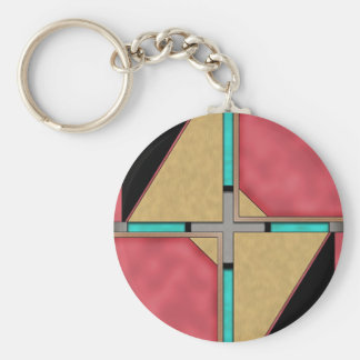 Quad Basic Round Button Key Ring