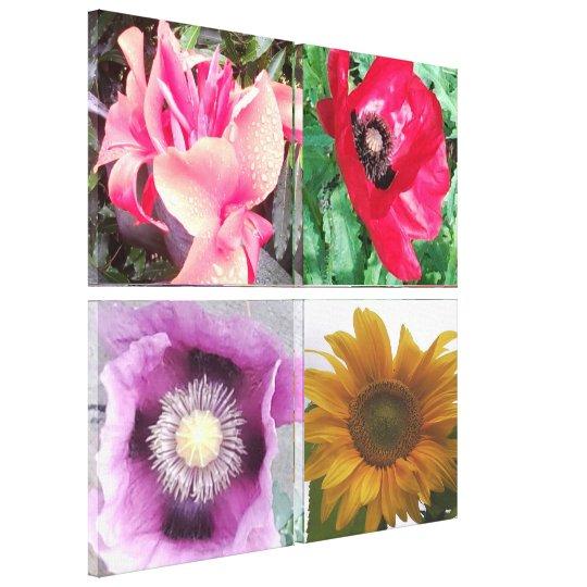 Quad Flower Photos Canvas