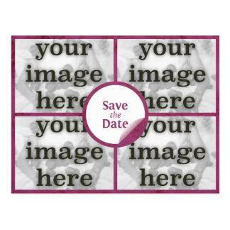 Quad Merlot Red Save the Date Postcard