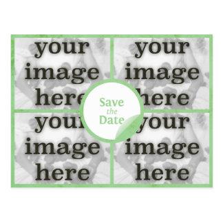 Quad Mint Green Save the Date Postcard