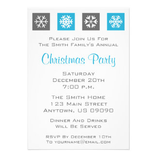 Quad Snowflakes Holiday Party Invitations