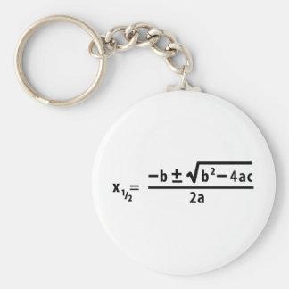 quadratic formula basic round button key ring