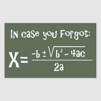 Quadratic Formula Reminder Rectangular Sticker