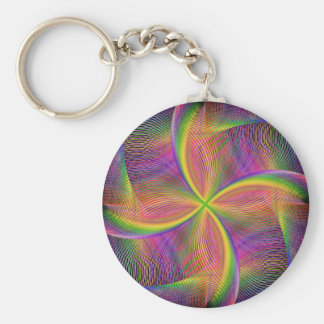 Quadratic rainbow basic round button key ring