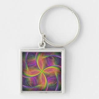 Quadratic rainbow Silver-Colored square key ring