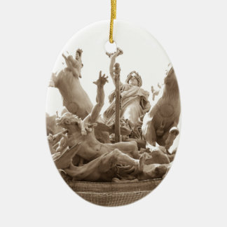 Quadriga in Paris, France Ceramic Oval Decoration