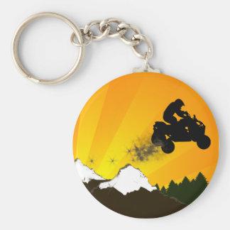 quads. orange sunset. basic round button key ring