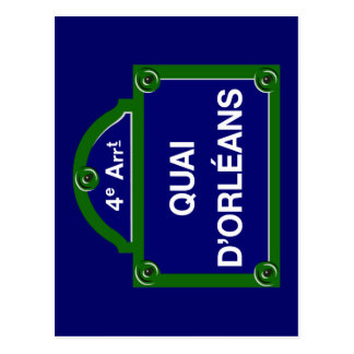 Quai d'Orleans, Paris Street Sign Postcard