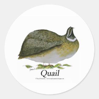 quail bird, tony fernandes round sticker