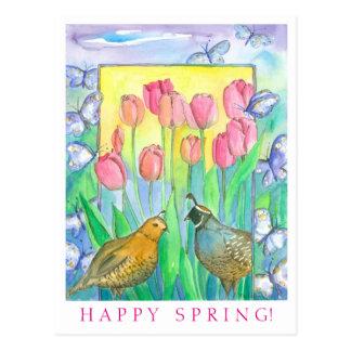 Quail Birds Pink Tulip Watercolor Happy Spring Postcard