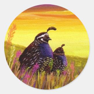 Quail Birds Wildlife Creationarts Lisa R Adams Classic Round Sticker