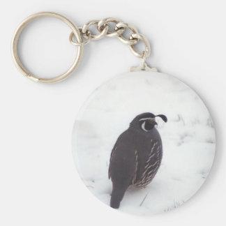 Quail in Snow Basic Round Button Key Ring