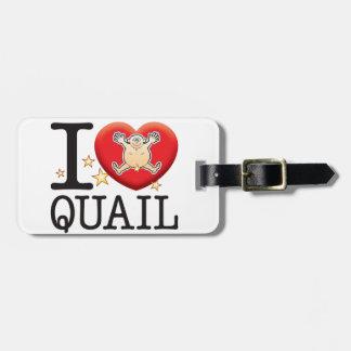 Quail Love Man Travel Bag Tag
