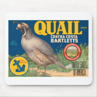 Quail Pears Fruit Crate Label Mouse Pad