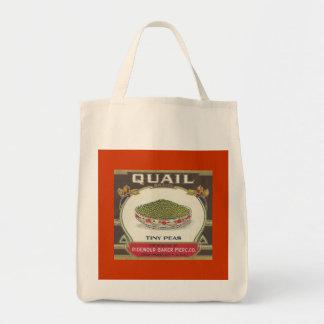 Quail Peas Grocery Tote Bag