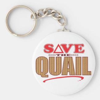 Quail Save Basic Round Button Key Ring
