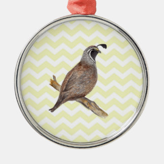 Quail watercolor painting on chevron pattern Silver-Colored round decoration
