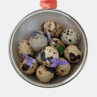 Quails eggs & flowers 7533 Silver-Colored round decoration