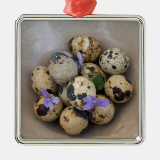 Quails eggs & flowers 7533 Silver-Colored square decoration