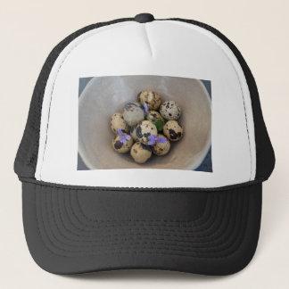 Quails eggs & flowers 7533 trucker hat