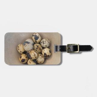 Quails eggs in a bowl luggage tag