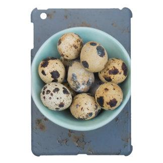 Quails eggs in a green bowl iPad mini case