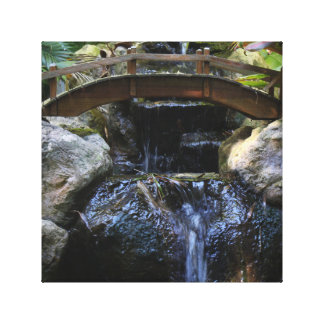 Quaint Bridge over Waterfall Canvas Print