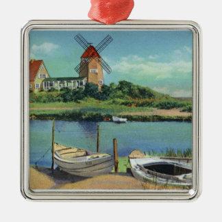 Quaint Cape Cod, View of Windmill and Boats Silver-Colored Square Decoration