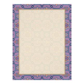 Quaint Geometric Floral Purple and Orange Flyer Design