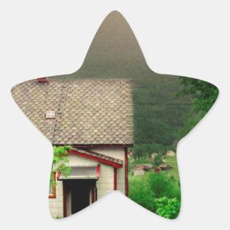 Quaint Norwegian Cottage Star Sticker