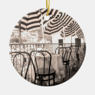 Quaint restaurant balcony, Italy Christmas Ornament