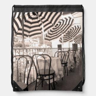 Quaint restaurant balcony, Italy Drawstring Bag