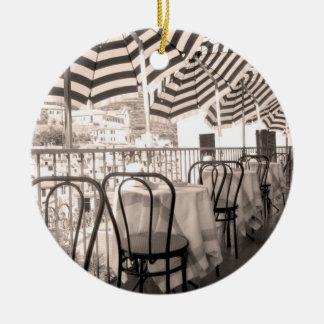 Quaint restaurant balcony, Italy Round Ceramic Decoration