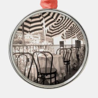 Quaint restaurant balcony, Italy Silver-Colored Round Decoration