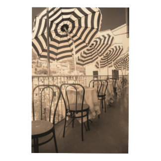 Quaint restaurant balcony, Italy Wood Print