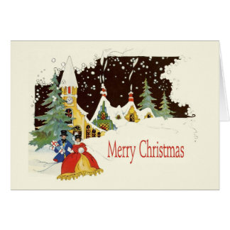Quaint Snowy Vintage Christmas Card Design