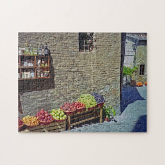 Quaint Street and Fruit Store Siena Italy Jigsaw Puzzle