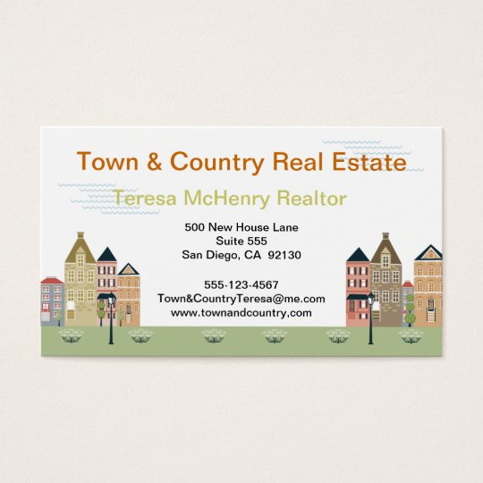 Quaint Village Street Real Estate Business Cards