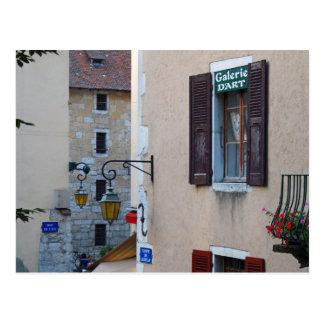 Quaint Windows Lights Signs Annecy, France Postcard