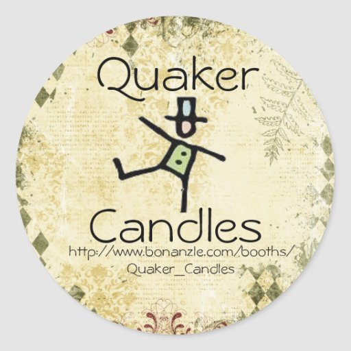 Quaker candle labels round stickers zazzle for Create your own candle labels