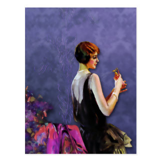 QUALIDA 1920s FASHION in FUCHSIA and PERIWINKLE Postcards
