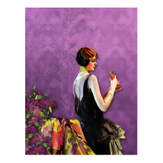 Qualida, 1920s Fashion in Gold and Plum Postcard