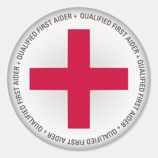 Qualified First Aider Medical Aid Round Sticker